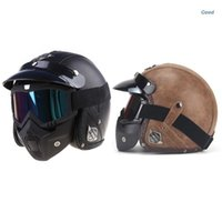 Motorcycle Helmets PU Leather 3 4 Bike Helmet Open Face Vintage With Goggle Mask