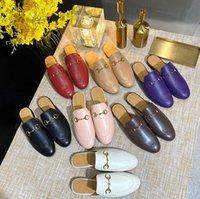 2021 Designer Donne sandali in pelle autunno inverno inverno pantofole calde classiche fibbia in metallo ricamo stilista scarpe di alta qualità uomo mezzo pantofola con scatola