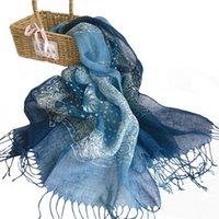 Zomer batik linnen sjaal guizhou toeristische omgeving cadeau aangepaste etnische stijl sjaal dames retro kwast sjaal