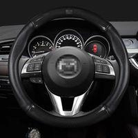 Steering Wheel Covers DIY Logo Carbon Fiber Car Cover 38CM Microfiber PU Leather Case Assessoires For Woman