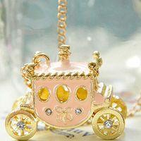 Femmes EnaMel Princesse Pendentif Collier Collier Fée Tale Magic Pumpkin Panier Pull Pull Bijoux Xin-