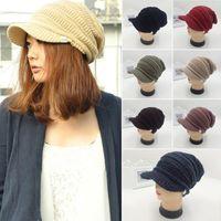 Winter Warm Knitted Hat Visors Men Women Crochet Snapback Cap Autumn Beanie Caps 7 Colors Female Male Beret Hats Gorro