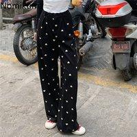 Nomikuma Aşk Kalp Desen Geniş Bacak Pantolon Joggers Kadınlar Casual Vintage Yüksek Bel Pantolon Kadın Chic Retro Pantalones 210514