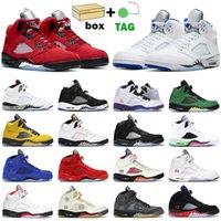 Sapatos de basquete Homens Jumpman 5s Raging Vermelho 5 Stealth 2.0 Fogo O que o cimento branco Metallic Olympic Sail Mens Sports Sneakers