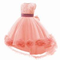 Girl's Dresses Baby Girls Clothes Kids Party Formal Long Lace Flower Princess Pettiskirt B5331