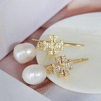 Top Quality 18K Gold Plated 3Colors Natural Pearl Dangle Rhinestone Crystal Stud Earring Hook Hoop Drop Letter earrings