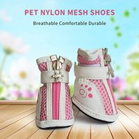 Small Dog Shoes, Nonslip Flexible Air-Mesh Lightweight Dogs Paw Protective Boots with Adjustable Fastener Strap