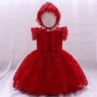 Bebekler Bebek Kız Çiçek Nakış Vintage Elbiseler Vaftiz Törenlerinde Doğan Vaftiz Giysileri Prenses Elbise Tutu Giyim 210522