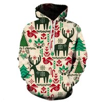 2021 spring and autumn new men's Christmas Animation 3D printed hooded long sleeved sweater with lovers