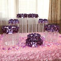 Cerreza de la boda Pastel de la pieza de la pieza de cumpleaños Postre postre Rack Redondo Cristal Cupcake Stand Party Center Decoración 6pcs / Set