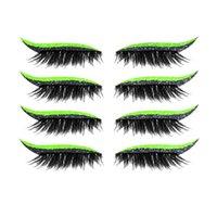 4 paires réutilisables Faux Lashes Eyeliners Sticker Lash Sticker 7 Couleur Éye d'oeil imperméable Eye-liner Stickers facile à utiliser et enlever