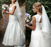 Vintage Mermaid Wedding Dresses Applique Lace Bridal Gowns Sweetheart Sleeveless Backless Tulle Long vestido de noiva With Sash