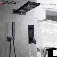 Black Luxur Chuveiro Misturador Kits Digital Display Montado Rain Cachoeira Torneira Roatatble Handshower Coluna Painel Banheiro Conjuntos