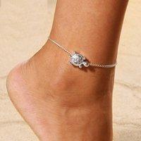 Boho Beach Kaplumbağa Yalınayak Sandalet Halhal Zincir Gümüş Hayvan Ayak Bilezikler Kadınlar Için Moda Takı Yalınayak Toptan