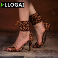 Sandals Summer Fashion High Heels Leopard Sexy Ladies Stiletto Heel Pointed Open Toe Lace-up Party Wedding Design Women's Shoes