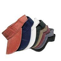 8 colors Topless Adjustable visor Hats Unisex Leisure Water-washed Coated Cap Men Women Summer Outdoor Strap Back Caps Q105