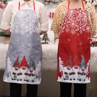 Aprons 4 Styles Unisex Linen Plaid Woodworking Apron Santa Claus Merry Christmas Oil-proof Adjustable Kitchen Year Decoration