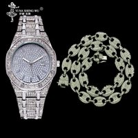 Iced Out CZ Gold Silver Coffee Bean Pig Nose Necklace & Watch Set Alloy Rhinestone Charm Link Chain Men Hip Hop Jewelry Chains
