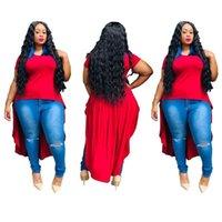 Hem Plus Size Tops Women 2021summer Fashion Solid Color Slim Short-Sleeved Irregular Stitching Long Back Womens T-Shirt SC Stranger