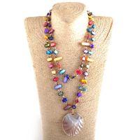 Мода Boho Ювелирные Изделия Швола Хрустальные Бусы Длинные Завязанные Большие кулон Ожерелье Женское Ожерелья Ожерелья