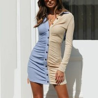 Casual Dresses Autumn Fashion Design Women Sexy V-neck Button Patchwork Long Sleeves Tight Mini Dress Gifts Daily Accessories
