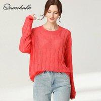 Женские свитеры Queeekalle оранжевый красный мода твердый свободный осенний свитер женщин 2021 повседневный поворот вязаные женские пуловеры топы зеленые
