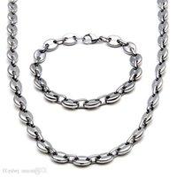 10mm de largeur de café brillant bracelet chaîne bracelet de chaîne hommes 14k chaines d'or collier collier en acier inoxydable costume bijoux ensemble cadeau de petit ami