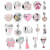 Fit Original Pandora Charm Bead DIY Bracelet Necklace Jewelry Silver Pink Beads Heart Car Tassel Butterfly Shape Charms Women Gift