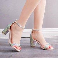 Dress Shoes Summer Women High Heels Wedding Party Sandals Open Toe Ankle Strap Chunky Rhinestone Platform Diamond