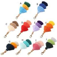 Key Rings Handmade Women Colorful Boho Pom Tassel Bag Charm Chain Fashion Jewerly U5ND