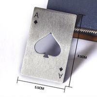 Cartão de jogo de poker elegante ace de espadas abridores barra ferramenta de aço inoxidável soda garrafa de cerveja tampa abridor gwe5935
