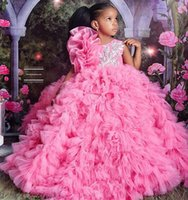 2022 Luxury Pink Organza Pageant Quinceanera Dresses for Little Girls Halter 3D Floral Flowers Lace Flower Girl First Communion Dress