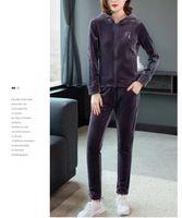 Tileewon Golden Velvet Terno Cor Sólida Inverno Adicionar Lã 2021 Tipo Casuais Mulheres Dois Peça Define as calças femininas