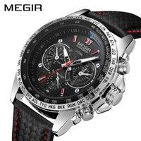 Megir Sport Mens Orologi Top Brand Luxury Quartz Uomo Guarda Moda Casual Black PU Strap Cinturino Orologio Uomo Grande quadrante ERKEK Saat 1010 x0625