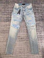 Jeans da uomo in stile Amr Wash Blue Hole Do vecchio Anacardio Fiore Stretch Slim High Street Brand Brand