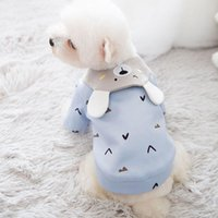 Dog Apparel Cute Blue Shirt Hoodies Embroidered Bear Pattern Warm Coat Hoody Small Dogs Cat Clothes Big Lapel Sweatshirt Outfit