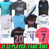 성인 어린이 여성 20 22 22 레알 마드리드 세 번째 축구 유니폼 조끼 선수 버전 위험 Sergio Ramos Kroos Camiseta de Futbol 2020 2021 2022