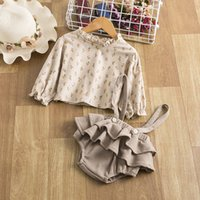 2Pcs Vintage Baby Girl Dresses Clothes Set Summer Cotton Girls Floral Blouse Shirt Romper Dress Spring Newborn Outfits #125