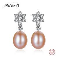 Dangle & Chandelier [MeiBaPJ]Natural Freshwater Pearl Fashion Drop Earrings Real 925 Sterling Silver Fine Charm Jewelry For Women