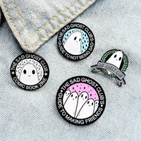 Cartoon THE SAD GHOST CLUB Brooches Set 4pcs Enamel Letter Paint Badges for Boys Alloy Lapel Pin Denim Shirt Fashion Jewelry Gift Bag Hat Accessories Collar Pins