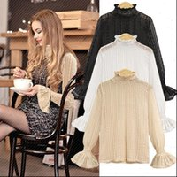 High necked lace half gauze Women Shirts inside the ride bottoming long sleeved big yards style trumpet sleeves UT185