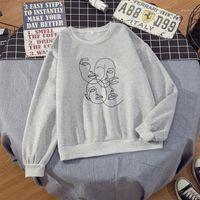 2021 Kpop Fashion Line Art Crewneck Sweat-shirt Femmes Esthétique 90s Jumper Tumblr Tumblr Pull Sweat à capuche Vintage Streetwear1