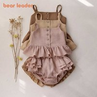 Bear Leader Toddler Baby Sweet Clothing Summer Casual Baby Girls Ruffles Vest And Shorts Outfits Kids Linen Infant Clothes Suits Y0909