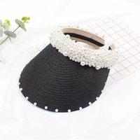 Verano hembra sombrero de paja hecha a mano perla playa hierba sombrero vacío mujeres visor de sol moda retro celebridad gorra 558 q2