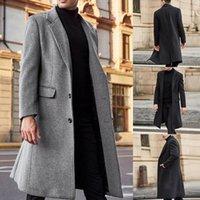 الشتاء الرجال معاطف en الصلبة طويلة الأكمام جاكيتات الصوف الرجال المعاطف الشارع الشهير أزياء طويلة خندق قميص 2021 5xl