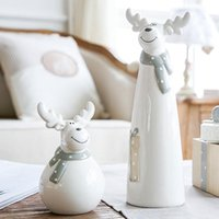 Декоративные объекты фигурки высококачественные керамики статуя для домашнего декора аксессуары улыбка elk скульптура миниатюрная модель творческие ремесла pr