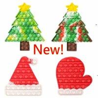DHL SSTOCK nuovo puzzle giocattolo push dito fidget sensoriale bubble decompressione di natale cappello albero guanto ansia stress reliever giocattoli cj22