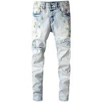 Men's Jeans High Street Light Color Knife Cut Hole Male Paint Graffiti Trousers Personality Stretch Slim Denim Pants 685