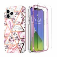 Geometric Flower Quartz Marble Plating Cases For Iphone 12 Pro Max 11 8 7 360 Full Metallic Hybrid Layer Soft IMD TPU Bumper Cover With Tempered Glass Screen Protector