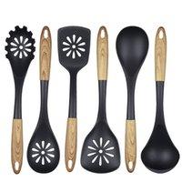 النايلون أدوات المطبخ 6 قطعة مجموعة أواني الطبخ سكوب الخشب الحبوب مقبض مطبخ أداة طبخ ملعقة ملعقة بالجملة